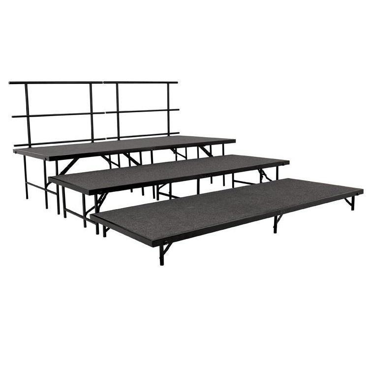NPS® 3-Level Straight Stage Set-Stages & Risers-3' x 8'-Grey Carpet-