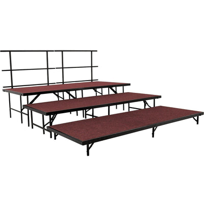 NPS® 3-Level Straight Stage Set-Stages & Risers-3' x 8'-Red Carpet-