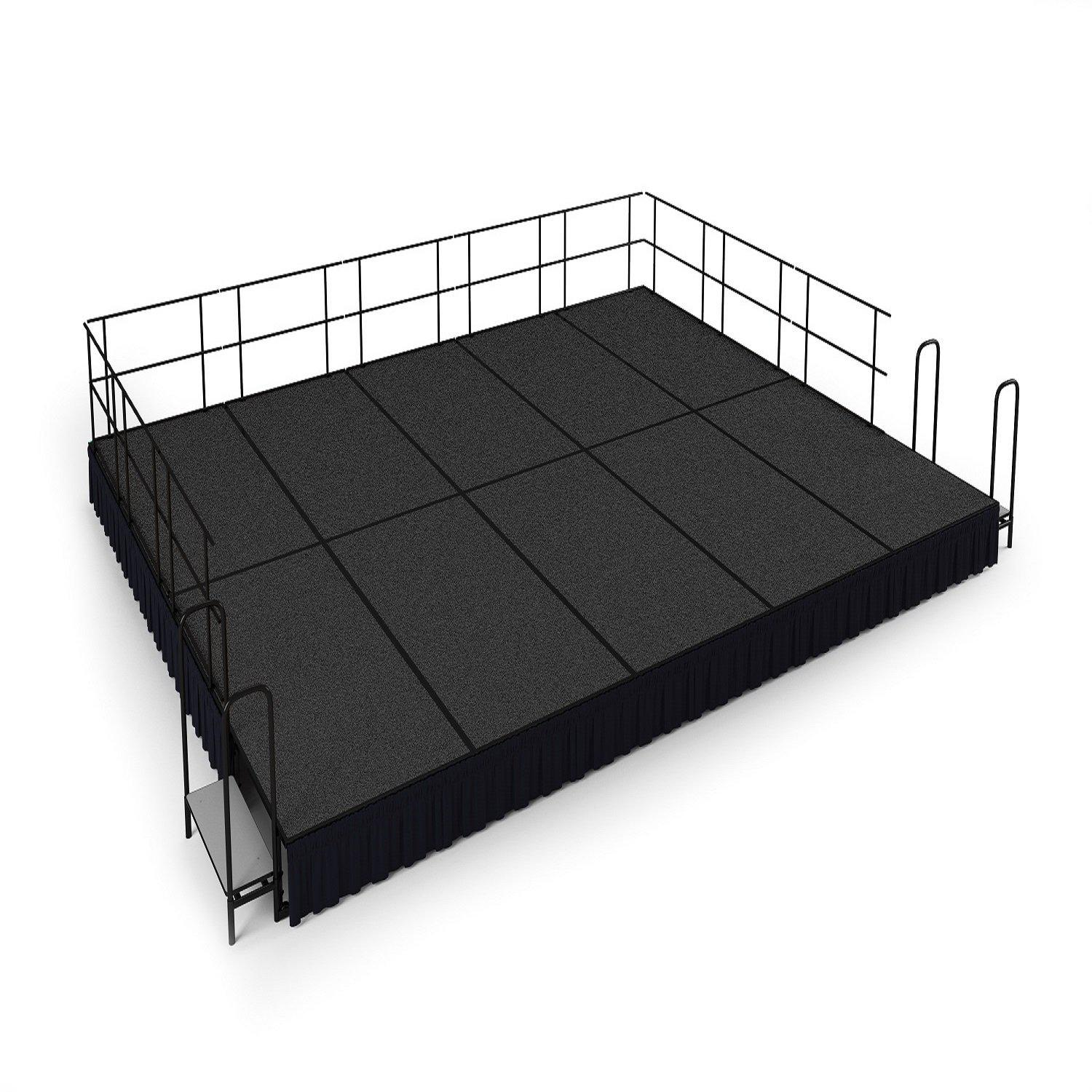 "NPS® Single Level Stage Package-Stages & Risers-16' x 20' x 16"" H-Grey Carpet-Shirred Pleat"