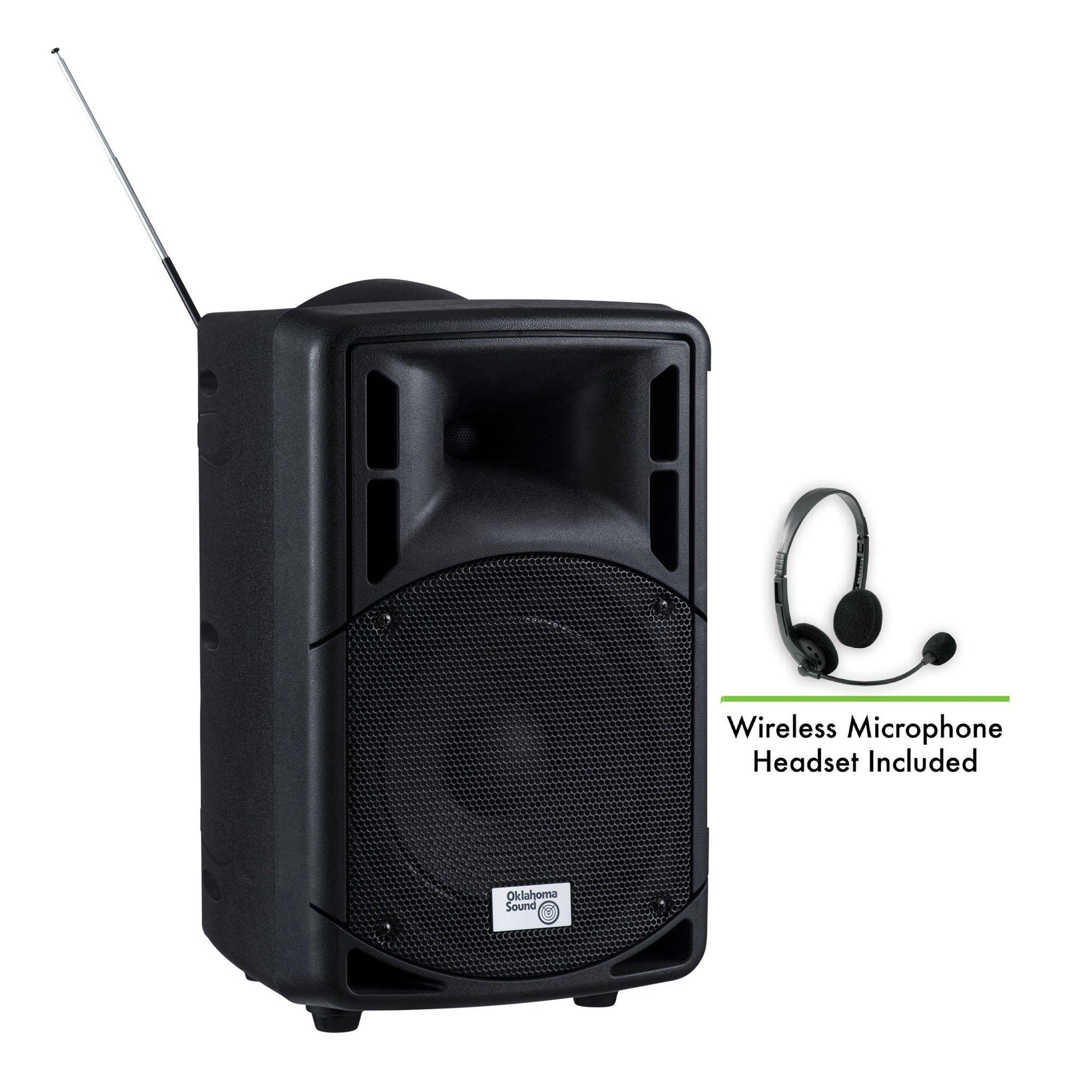 Oklahoma Sound® 40 Watt Wireless PA System w/ Wireless Headset Mic-Audio-Visual/Presentation-