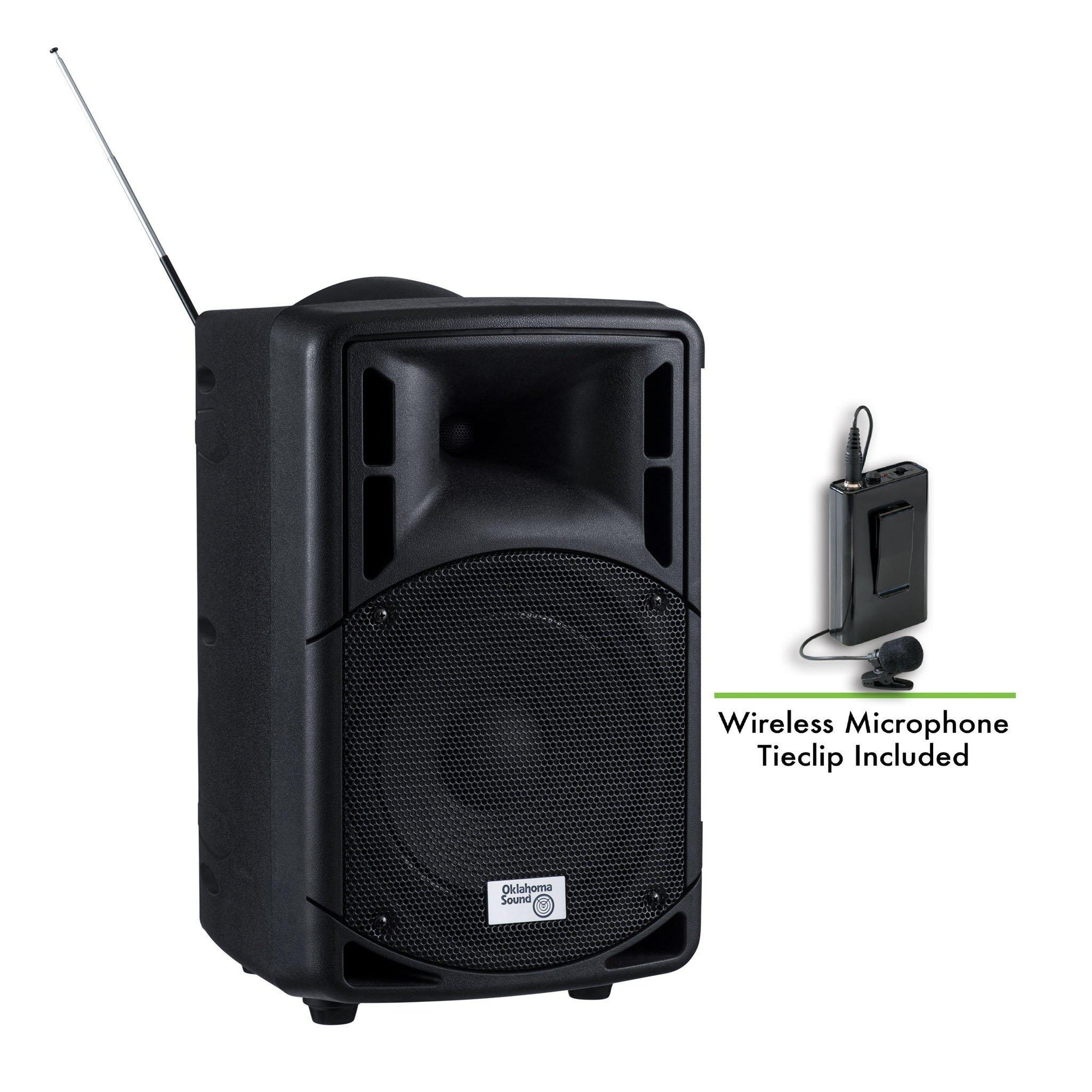 Oklahoma Sound® 40 Watt Wireless PA System w/ Wireless Tie Clip Mic-Audio-Visual/Presentation-