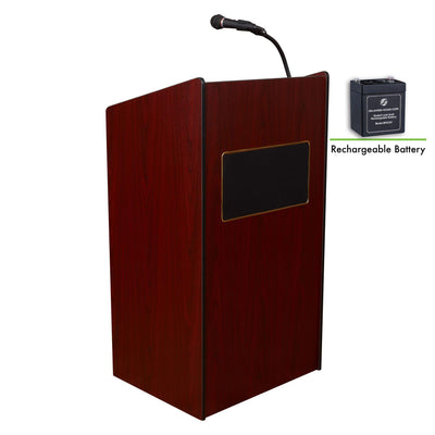 Oklahoma Sound® Aristocrat Floor Sound Lectern and Rechargeable Battery-Lecterns & Podiums-Mahogany-