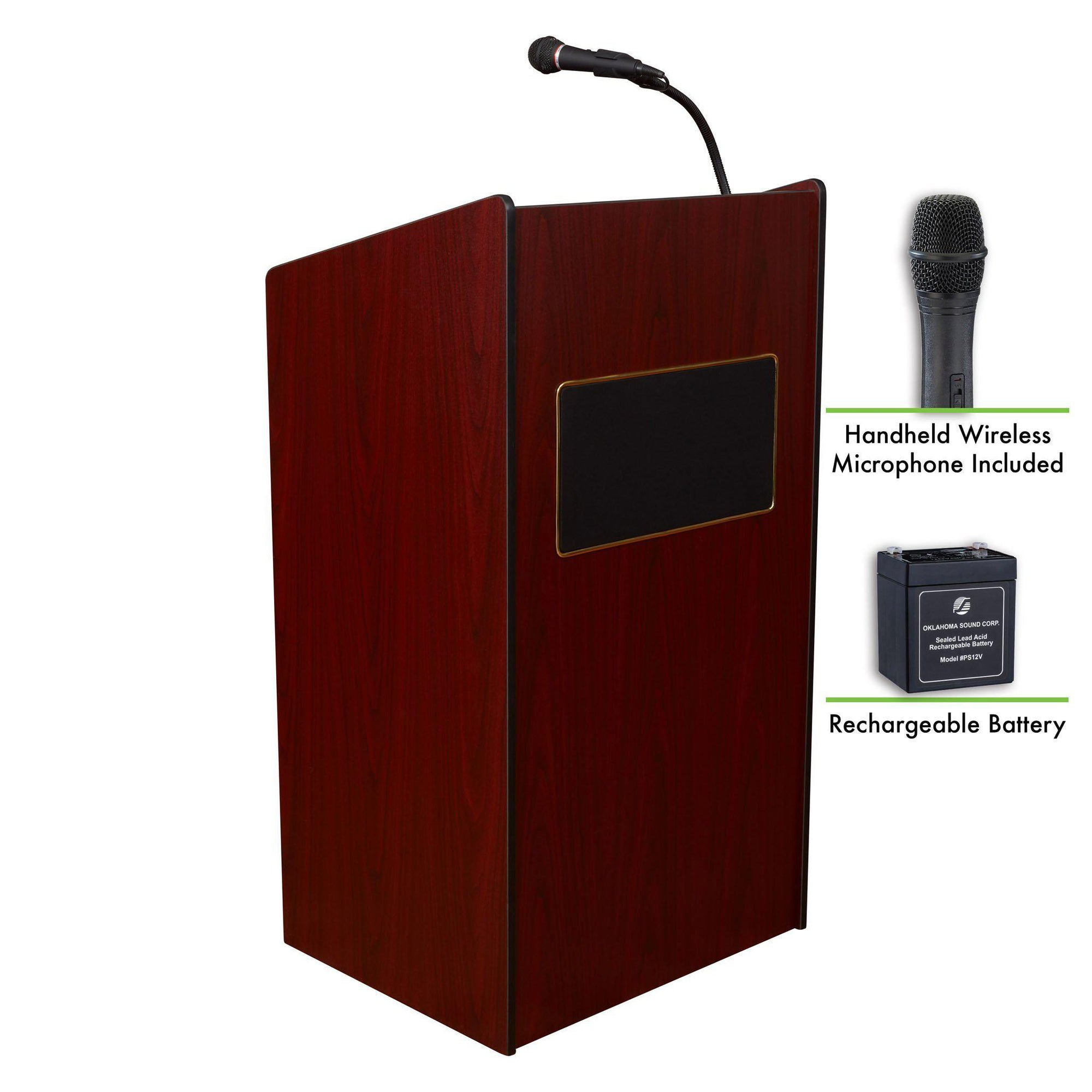 Oklahoma Sound® Aristocrat Sound Lectern and Rechargeable Battery with Wireless Handheld Mic-Lecterns & Podiums-Mahogany-