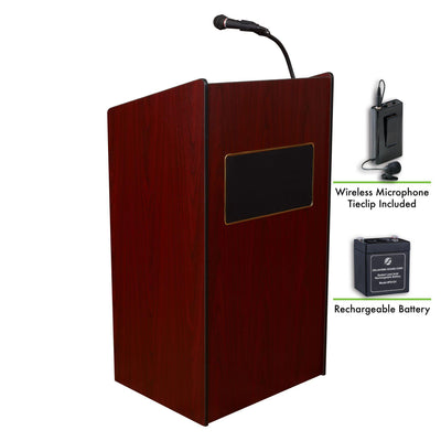 Oklahoma Sound® Aristocrat Sound Lectern and Rechargeable Battery with Wireless Tie Clip/Lavalier Mic-Lecterns & Podiums-Mahogany-