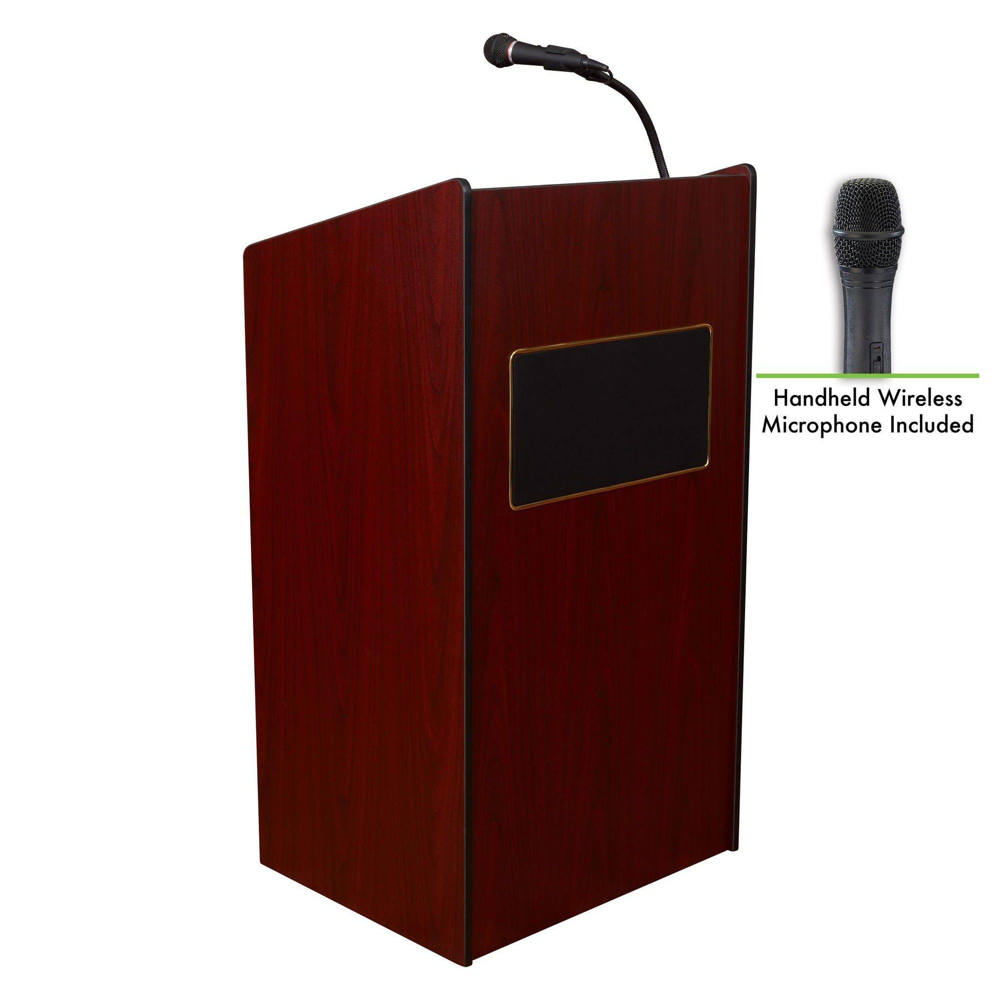 Oklahoma Sound® Aristocrat Sound Lectern with Wireless Handheld Mic-Lecterns & Podiums-Mahogany-
