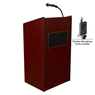 Oklahoma Sound® Aristocrat Sound Lectern with Wireless Tie Clip/Lavalier Mic-Lecterns & Podiums-Mahogany-