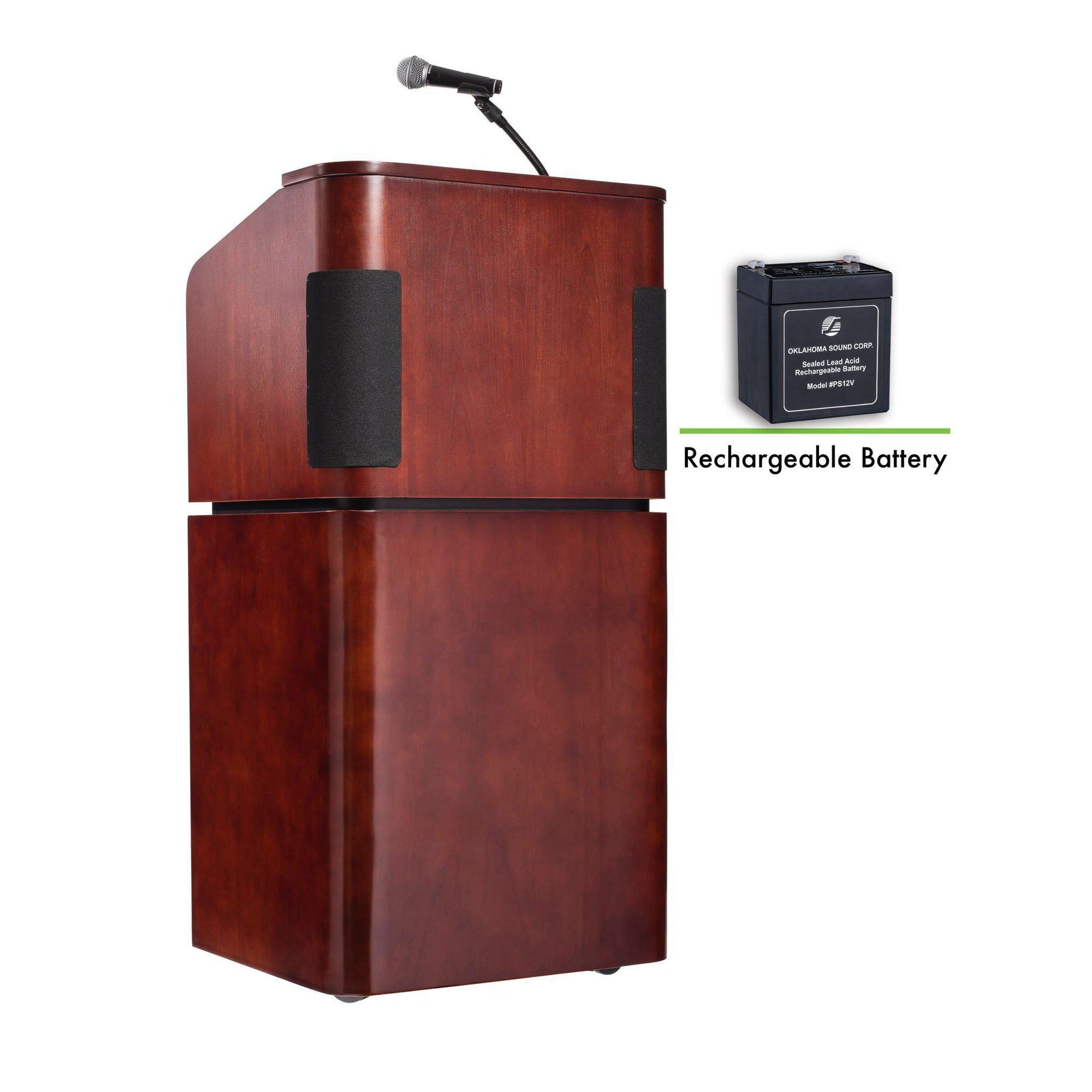 Contemporary Veneer Combo Sound Lectern and Rechargeable Battery, Mahogany on Walnut