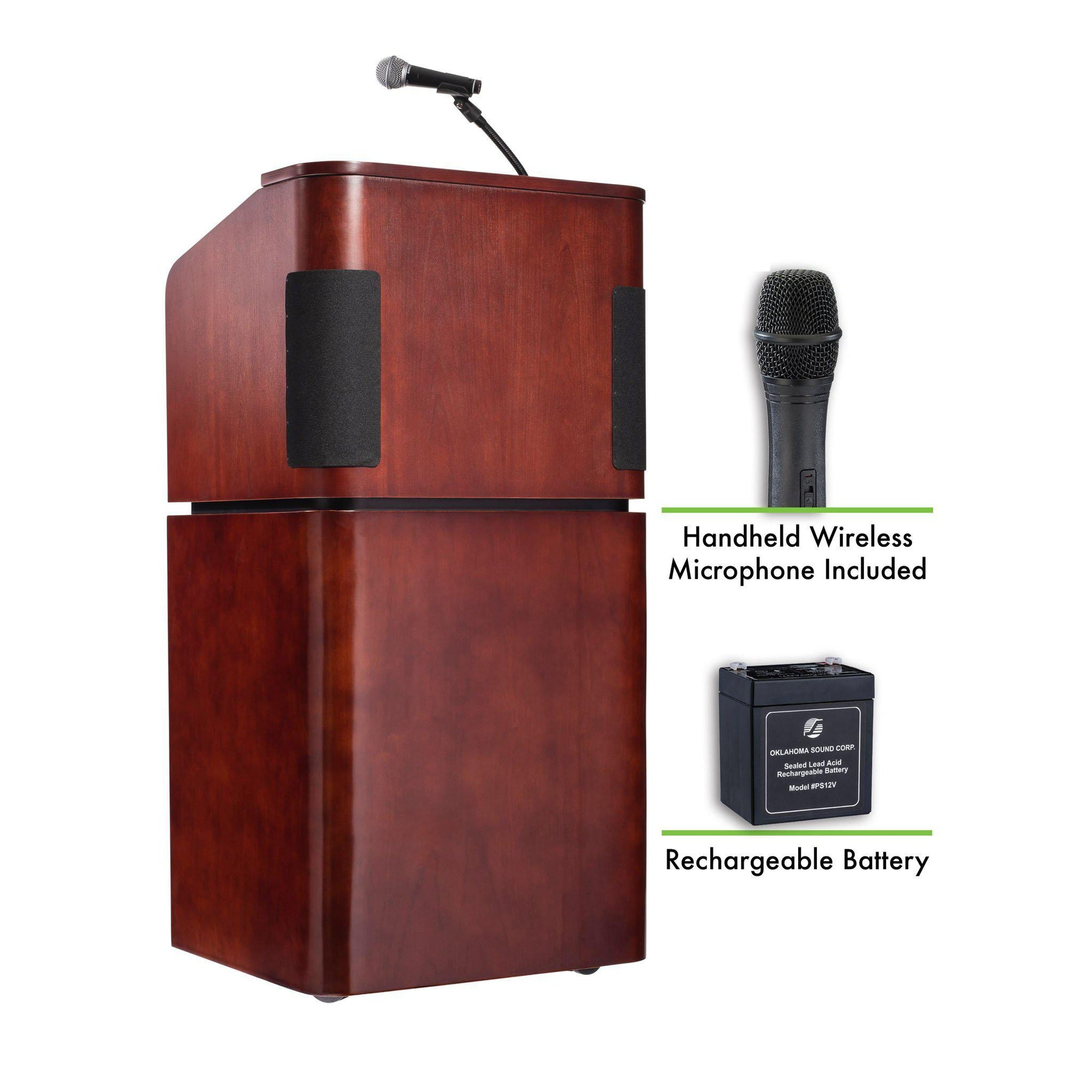 Contemporary Veneer Combo Sound Lectern and Rechargeable Battery with Wireless Handheld Mic, Mahogany on Walnut