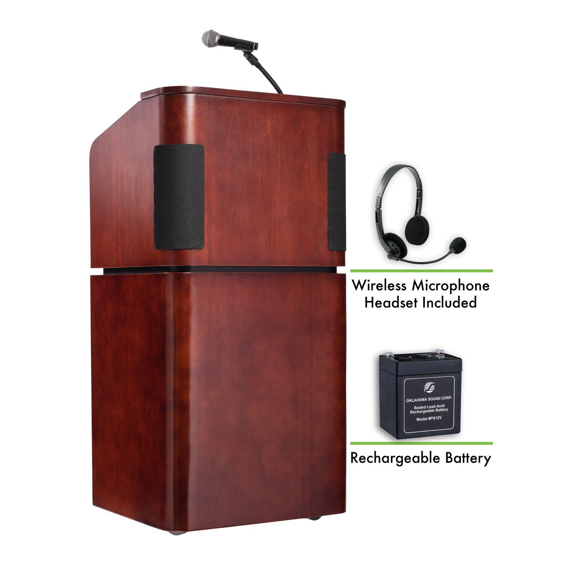 Oklahoma Sound® Contemporary Veneer Combo Sound Lectern and Rechargeable Battery with Wireless Headset Mic, Mahogany on Walnut-Lecterns & Podiums-