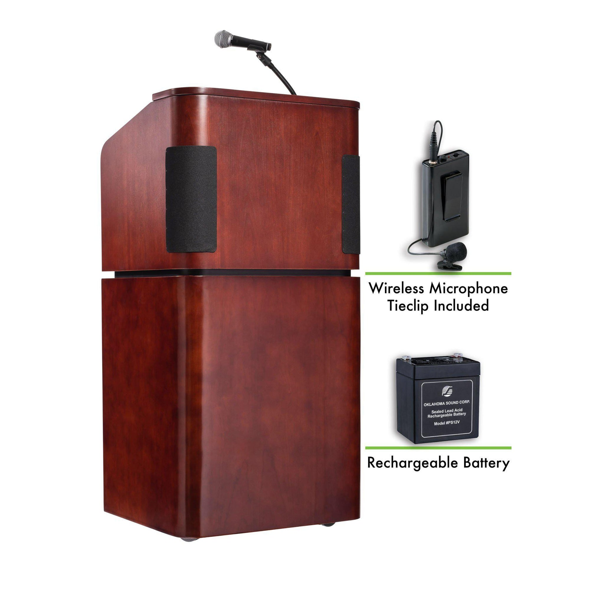 Oklahoma Sound® Contemporary Veneer Combo Sound Lectern and Rechargeable Battery with Wireless Tie Clip/Lavalier Mic, Mahogany on Walnut-Lecterns & Podiums-