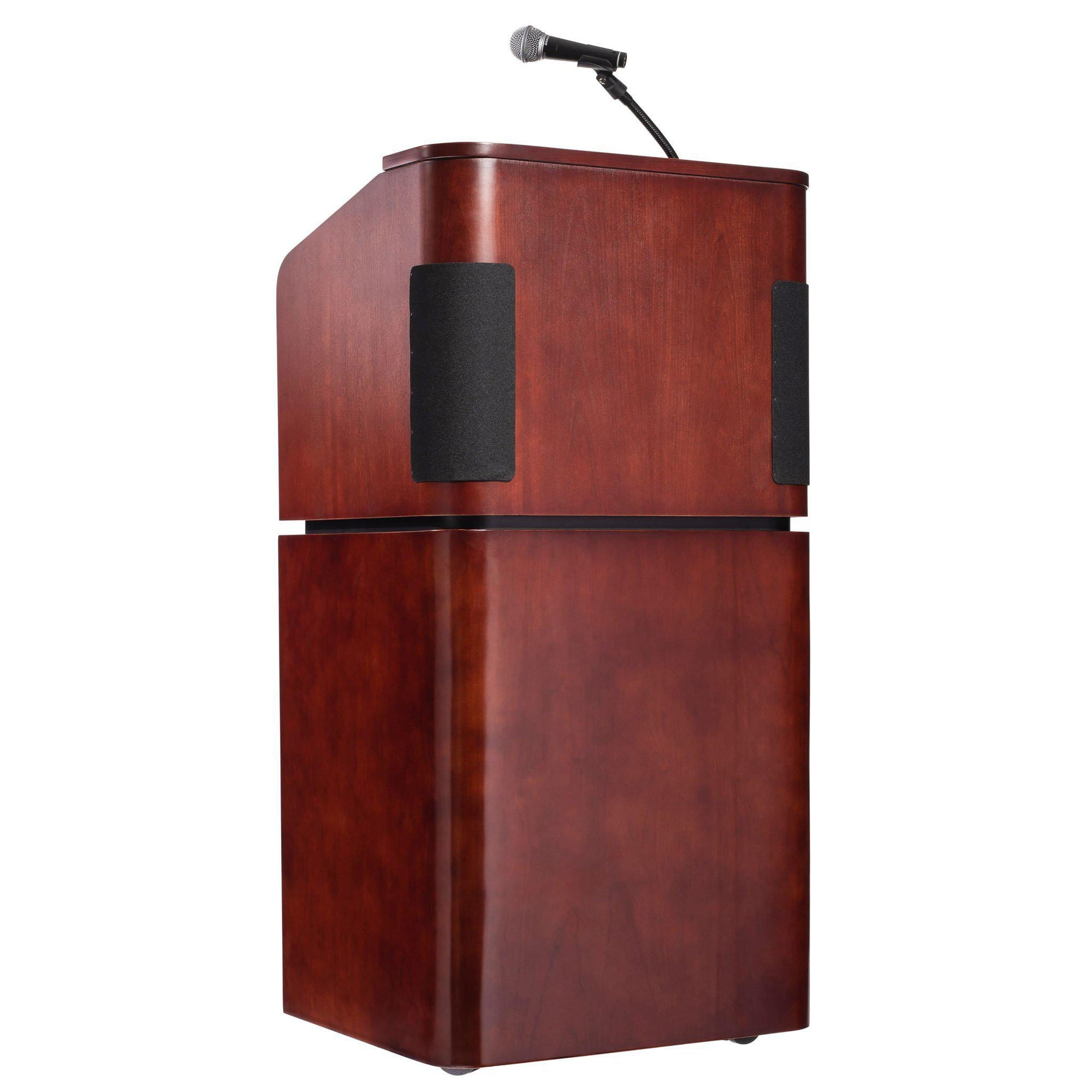 Oklahoma Sound® Contemporary Veneer Combo Sound Lectern, Mahogany on Walnut-Lecterns & Podiums-