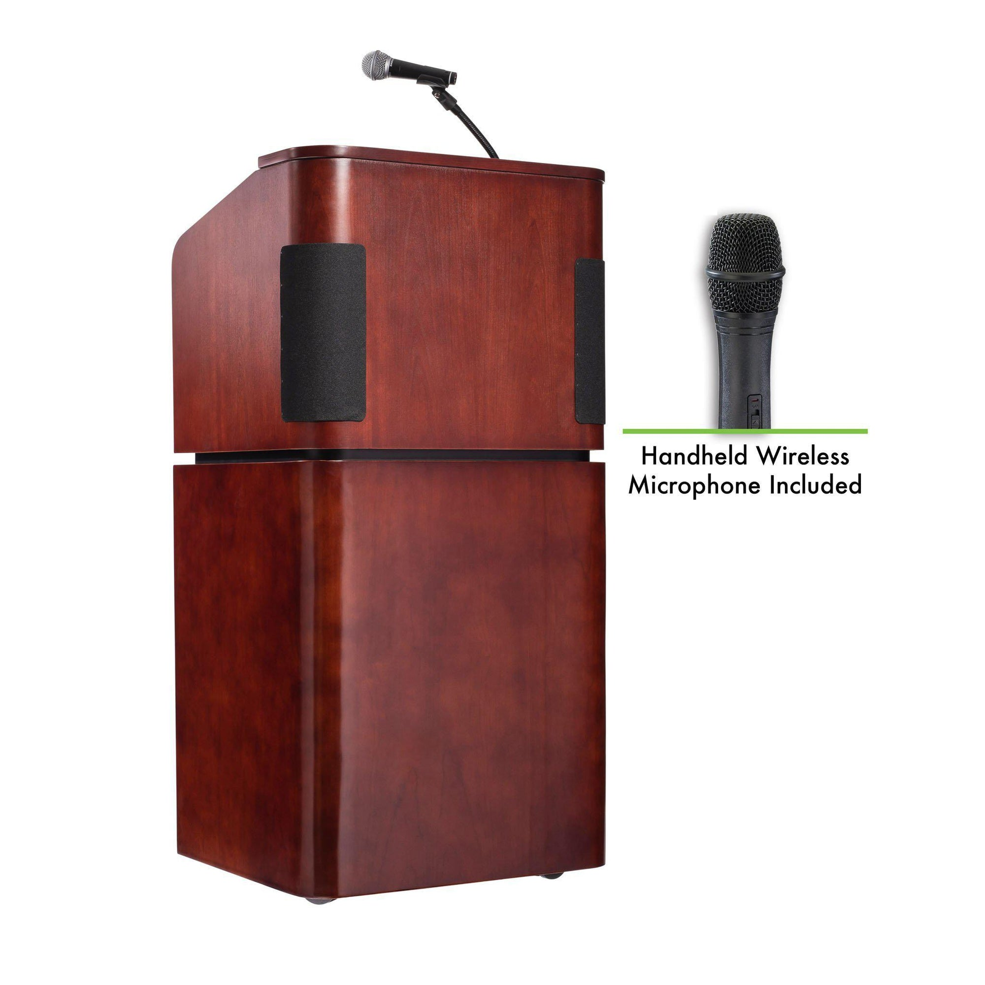 Oklahoma Sound® Contemporary Veneer Combo Sound Lectern with Wireless Handheld Mic, Mahogany on Walnut-Lecterns & Podiums-