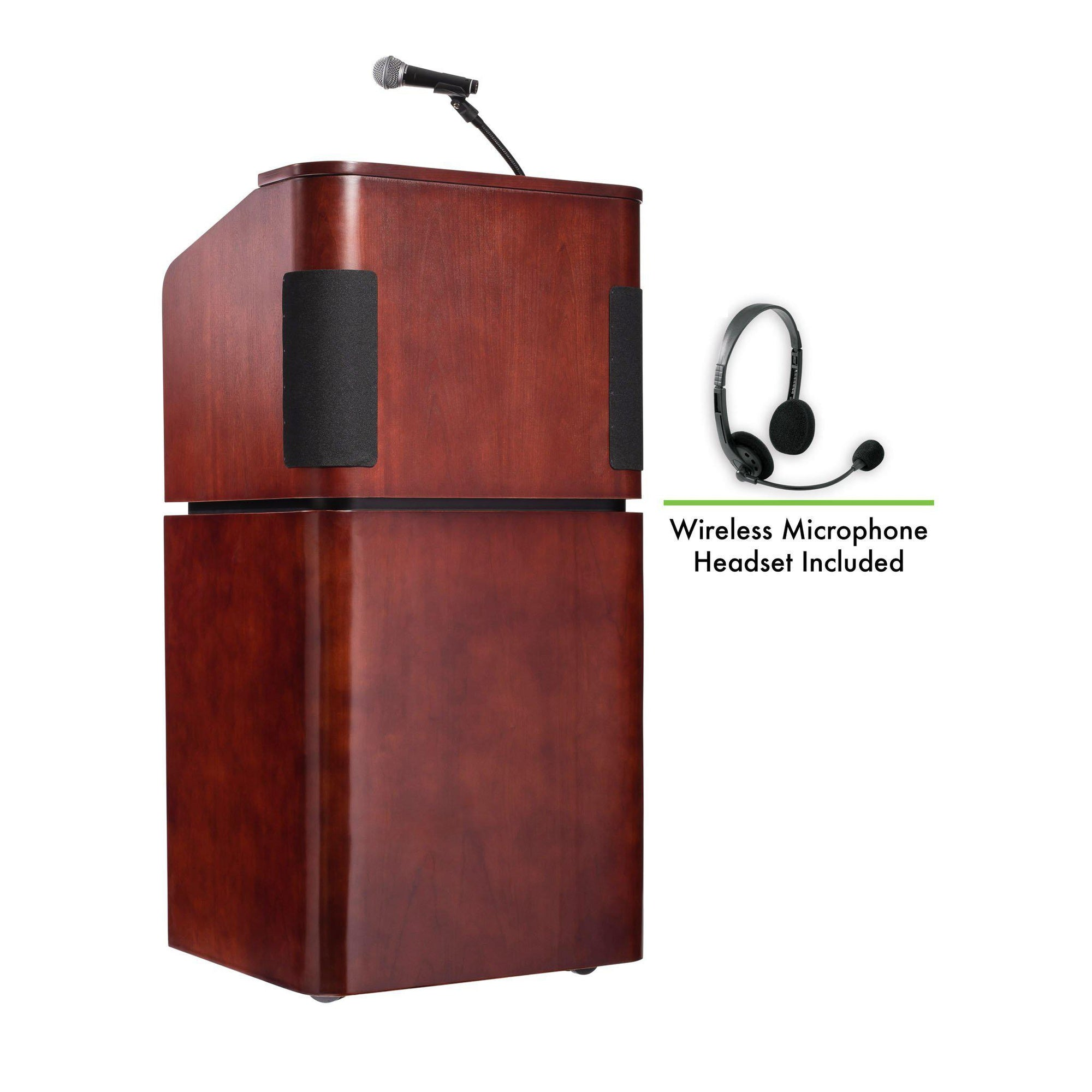Contemporary Veneer Combo Sound Lectern with Wireless Headset Mic, Mahogany on Walnut