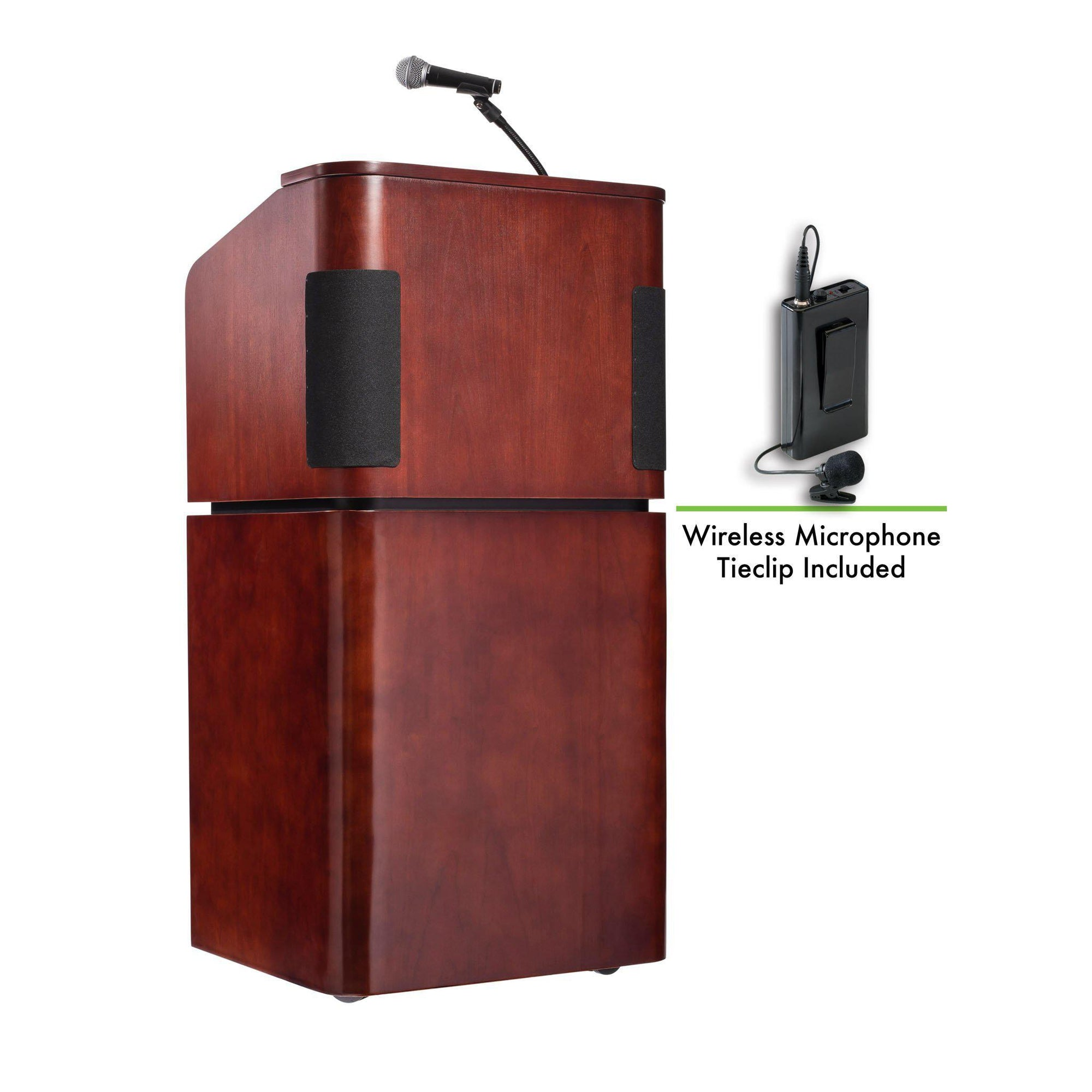 Oklahoma Sound® Contemporary Veneer Combo Sound Lectern with Wireless Tie Clip/ Lavalier Mic, Mahogany on Walnut-Lecterns & Podiums-
