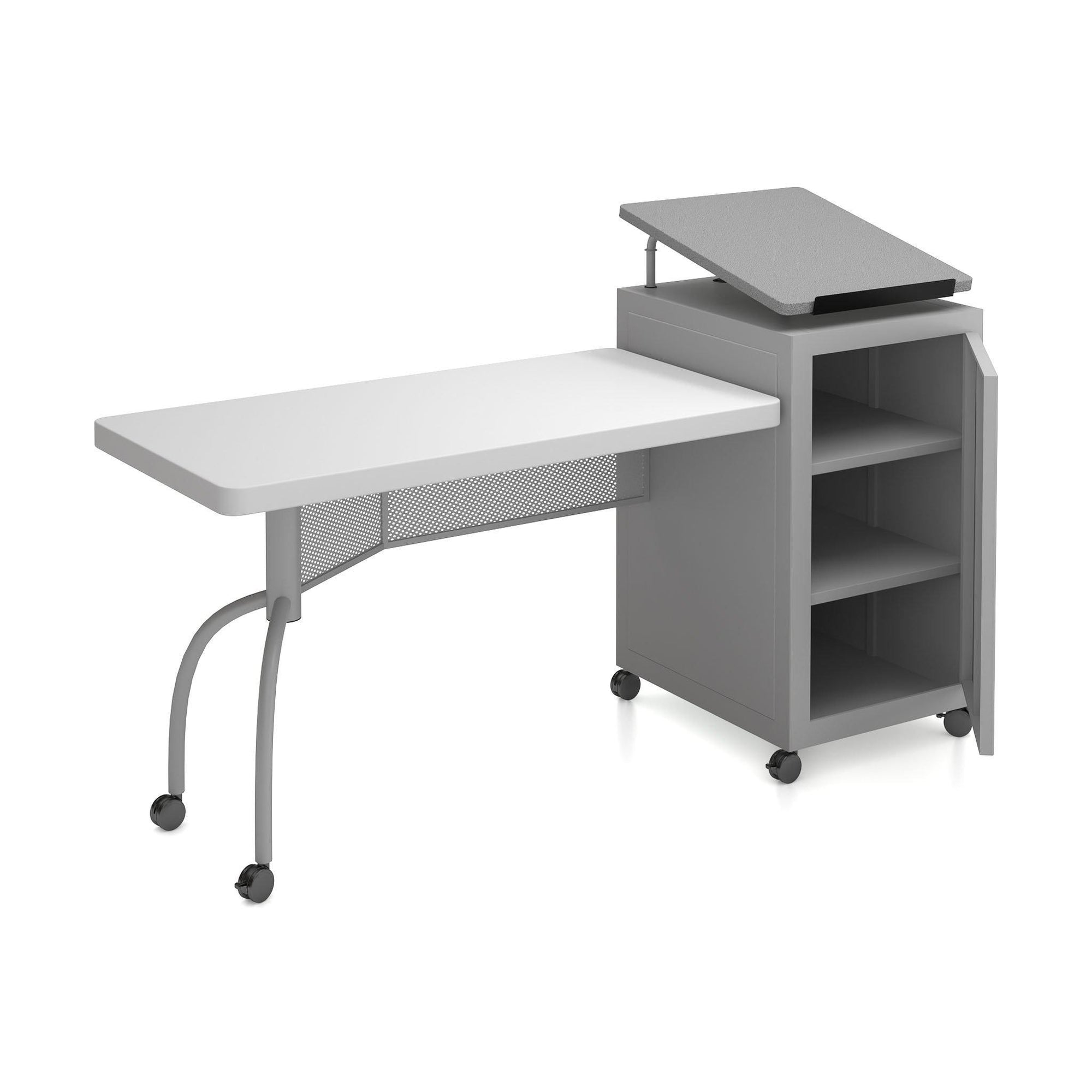 Oklahoma Sound® Edupod Teacher's Desk & Lectern Combo, Grey Hammer Tone-Lecterns & Podiums-