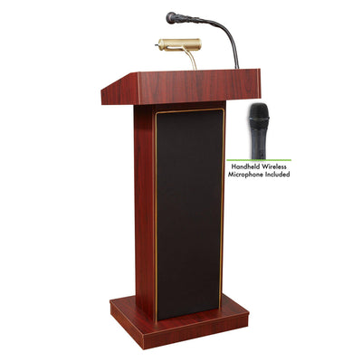 Oklahoma Sound® Orator Lectern with Wireless Handheld Mic-Lecterns & Podiums-Mahogany-