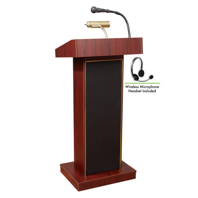Oklahoma Sound® Orator Lectern with Wireless Headset Mic-Lecterns & Podiums-Mahogany-