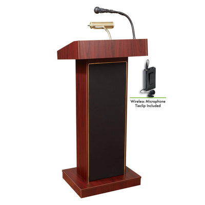 Oklahoma Sound® Orator Lectern with Wireless Tie Clip/Lavalier Mic-Lecterns & Podiums-Mahogany-