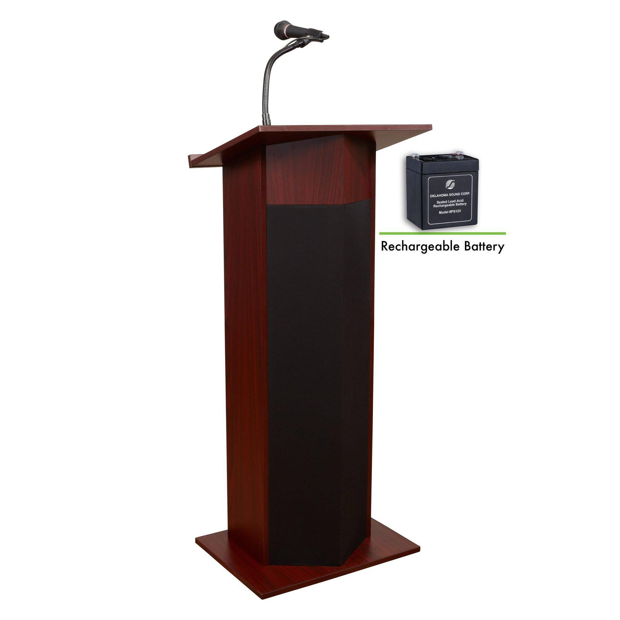 Oklahoma Sound® Power Plus Lectern and Rechargeable Battery-Lecterns & Podiums-Mahogany-