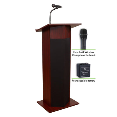 Oklahoma Sound® Power Plus Lectern and Rechargeable Battery with Wireless Handheld Mic-Lecterns & Podiums-Mahogany-