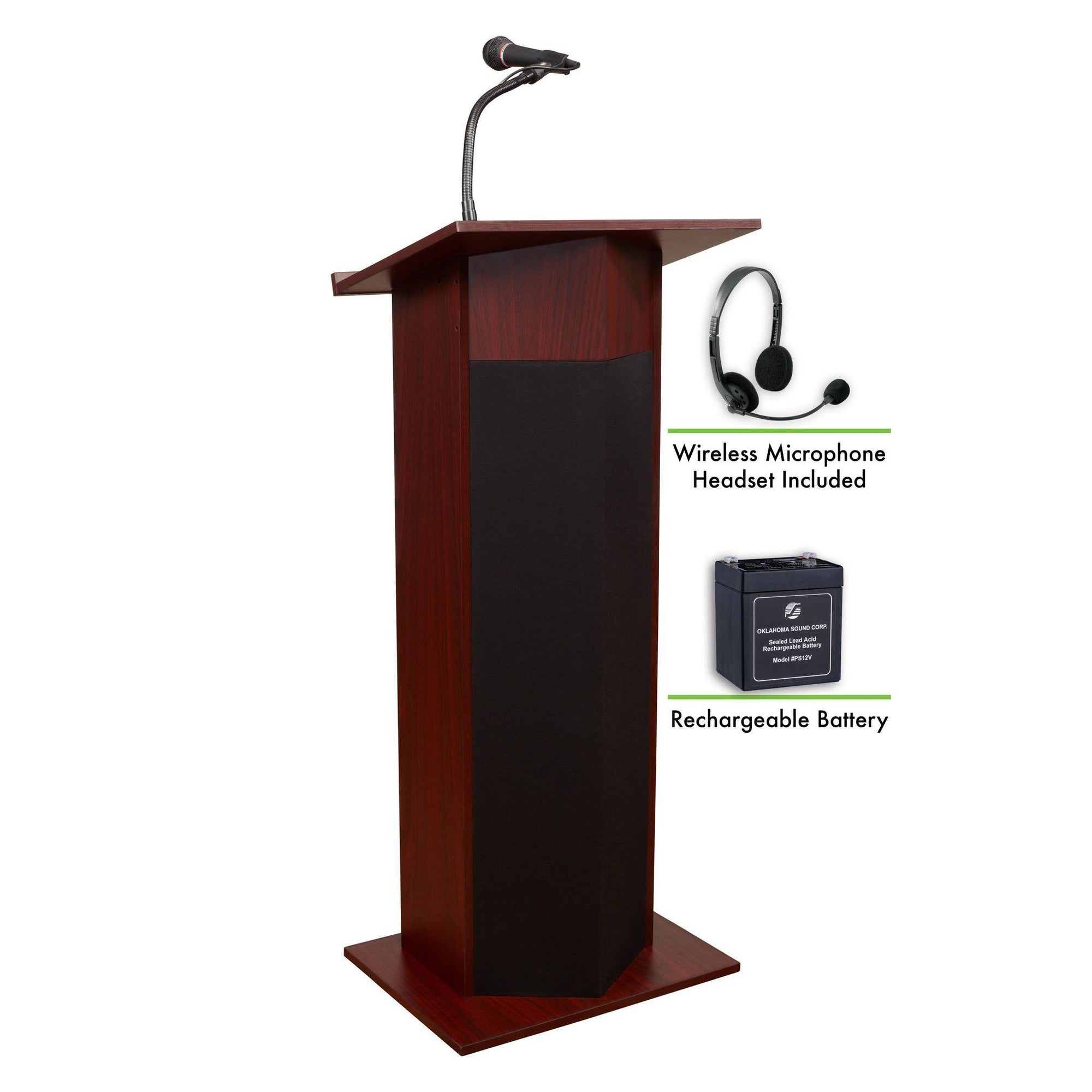 Oklahoma Sound® Power Plus Lectern and Rechargeable Battery with Wireless Headset Mic-Lecterns & Podiums-Mahogany-