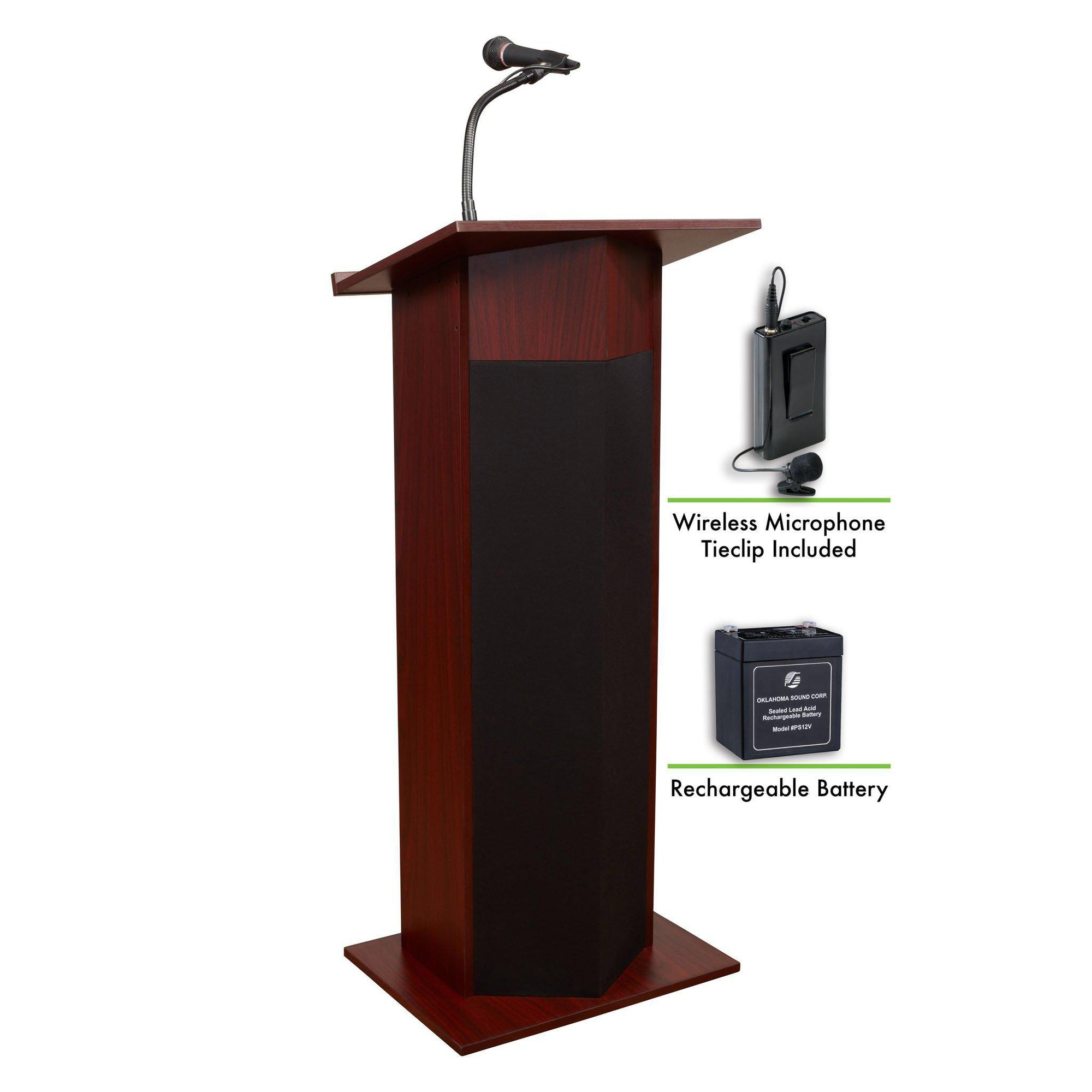Oklahoma Sound® Power Plus Lectern and Rechargeable Battery with Wireless Tie Clip/Lavalier Mic-Lecterns & Podiums-Mahogany-