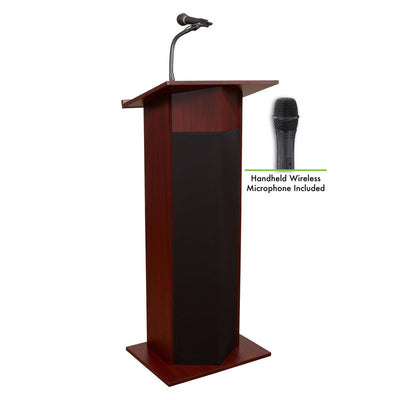 Oklahoma Sound® Power Plus Lectern with Wireless Handheld Mic-Lecterns & Podiums-Mahogany-