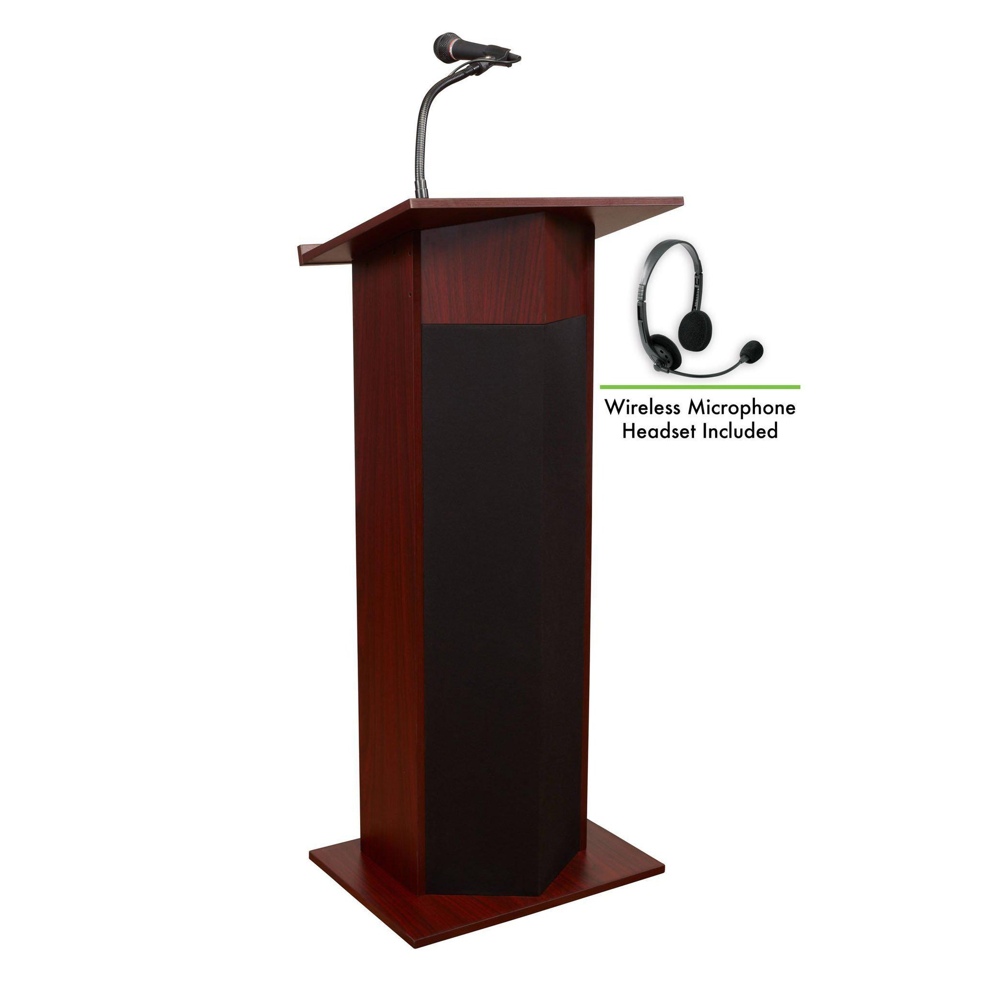 Oklahoma Sound® Power Plus Lectern with Wireless Headset Mic-Lecterns & Podiums-Mahogany-