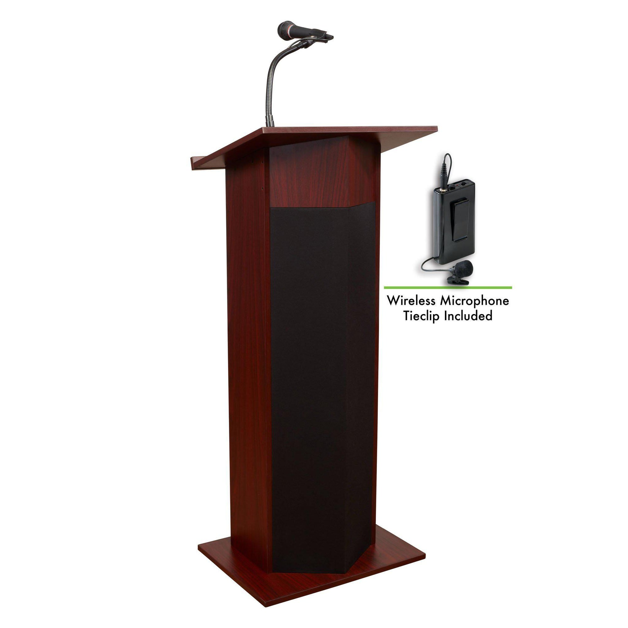 Oklahoma Sound® Power Plus Lectern with Wireless Tie Clip/ Lavalier Mic-Lecterns & Podiums-Mahogany-