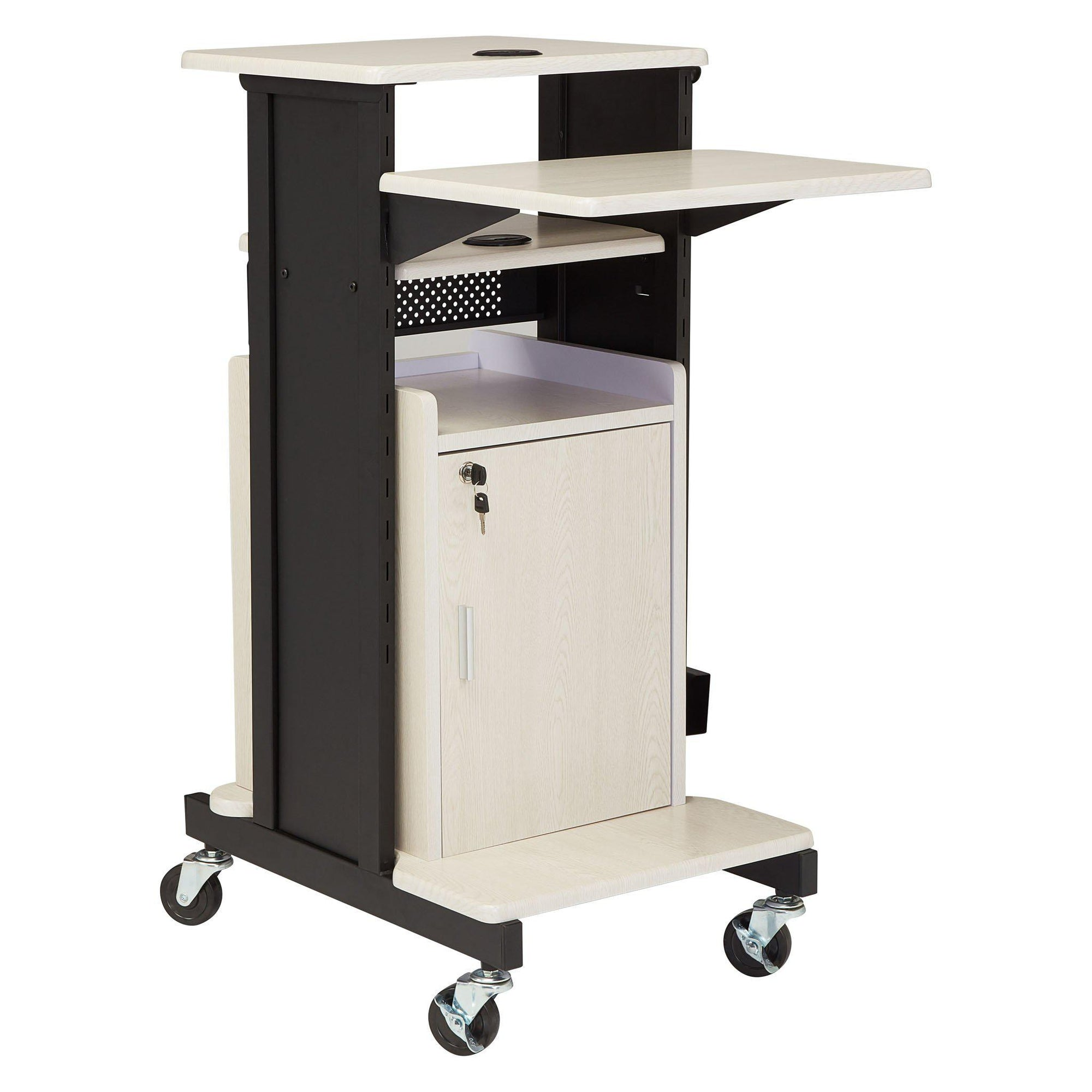 Oklahoma Sound® Premium Plus Presentation Cart with Storage Cabinet-Audio-Visual/Presentation-