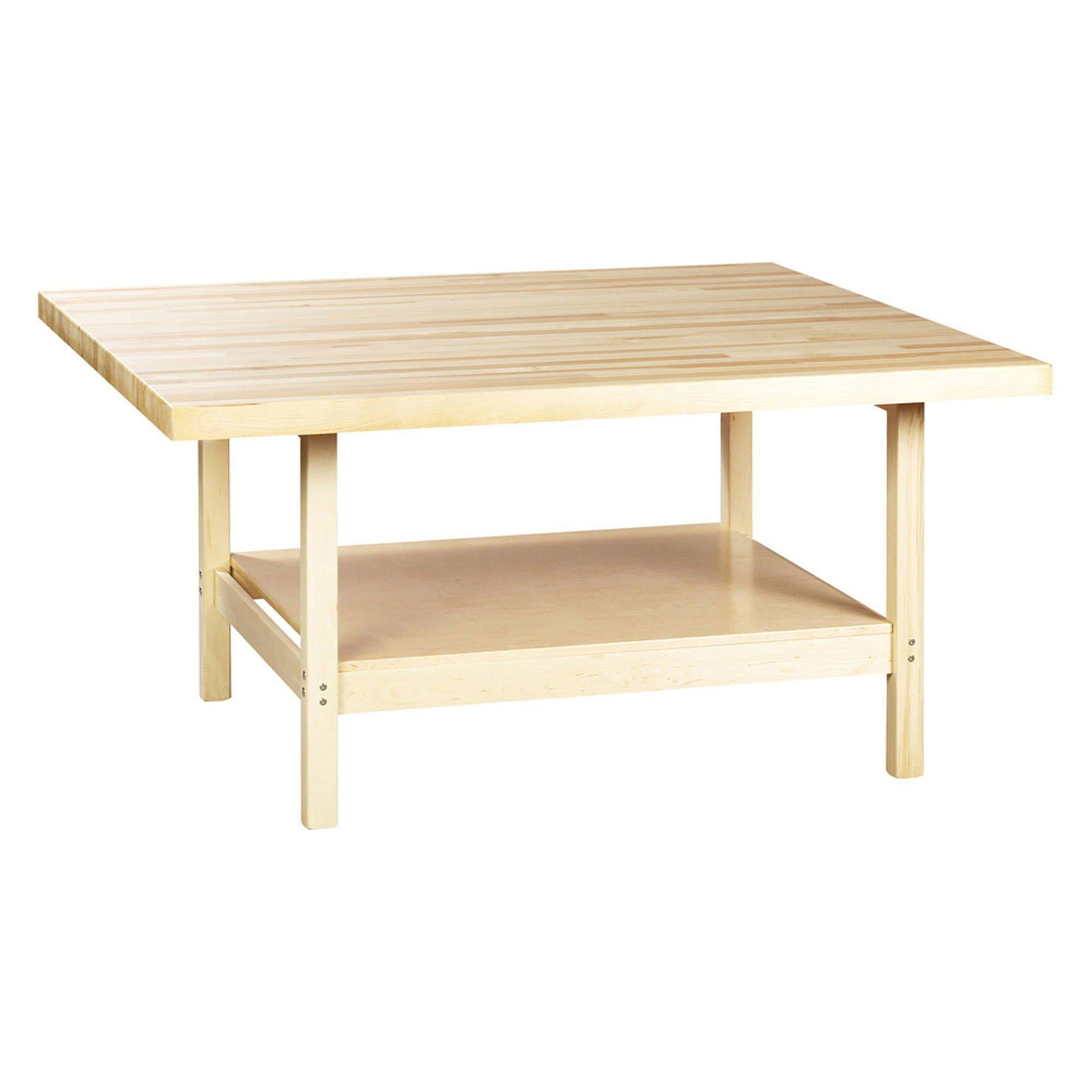 Open-Style Four-Station Wood Workbench