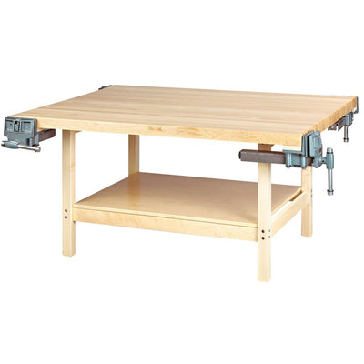 Open-Style Four-Station Wood Workbench-4-