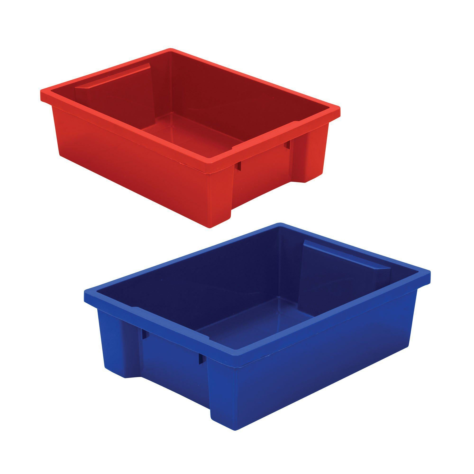 Plastic Storage Tubs-Storage Cabinets & Shelving-Set of 2 (1 Red/1 Blue)-