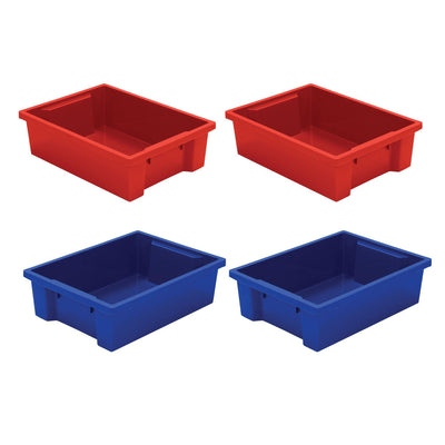 Plastic Storage Tubs-Storage Cabinets & Shelving-Set of 4 (2 Red/2 Blue)-