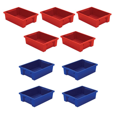 Plastic Storage Tubs-Storage Cabinets & Shelving-Set of 9 (Assorted Colors)-