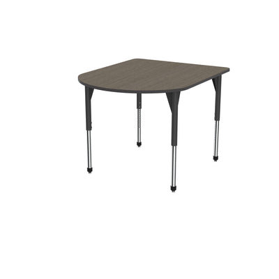 "Premier Series Multimedia Tables, 48"" x 60""-Tables-Stool (32"" - 42"")-Boardwalk Oak/Black-Black"