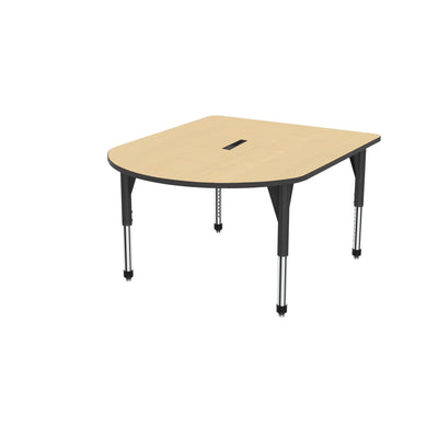 "Premier Series Multimedia Tables with Power Module, 48"" x 60""-Tables-Sitting (21"" - 31"")-Fusion Maple/Black-Black"