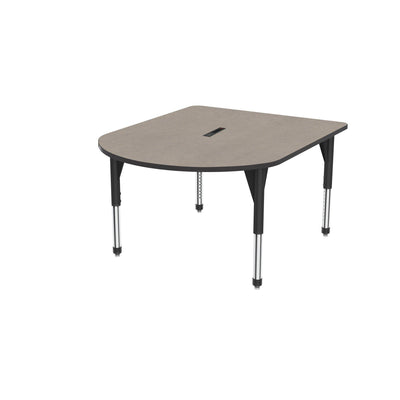 "Premier Series Multimedia Tables with Power Module, 48"" x 60""-Tables-Sitting (21"" - 31"")-Solar Oak/Black-Black"