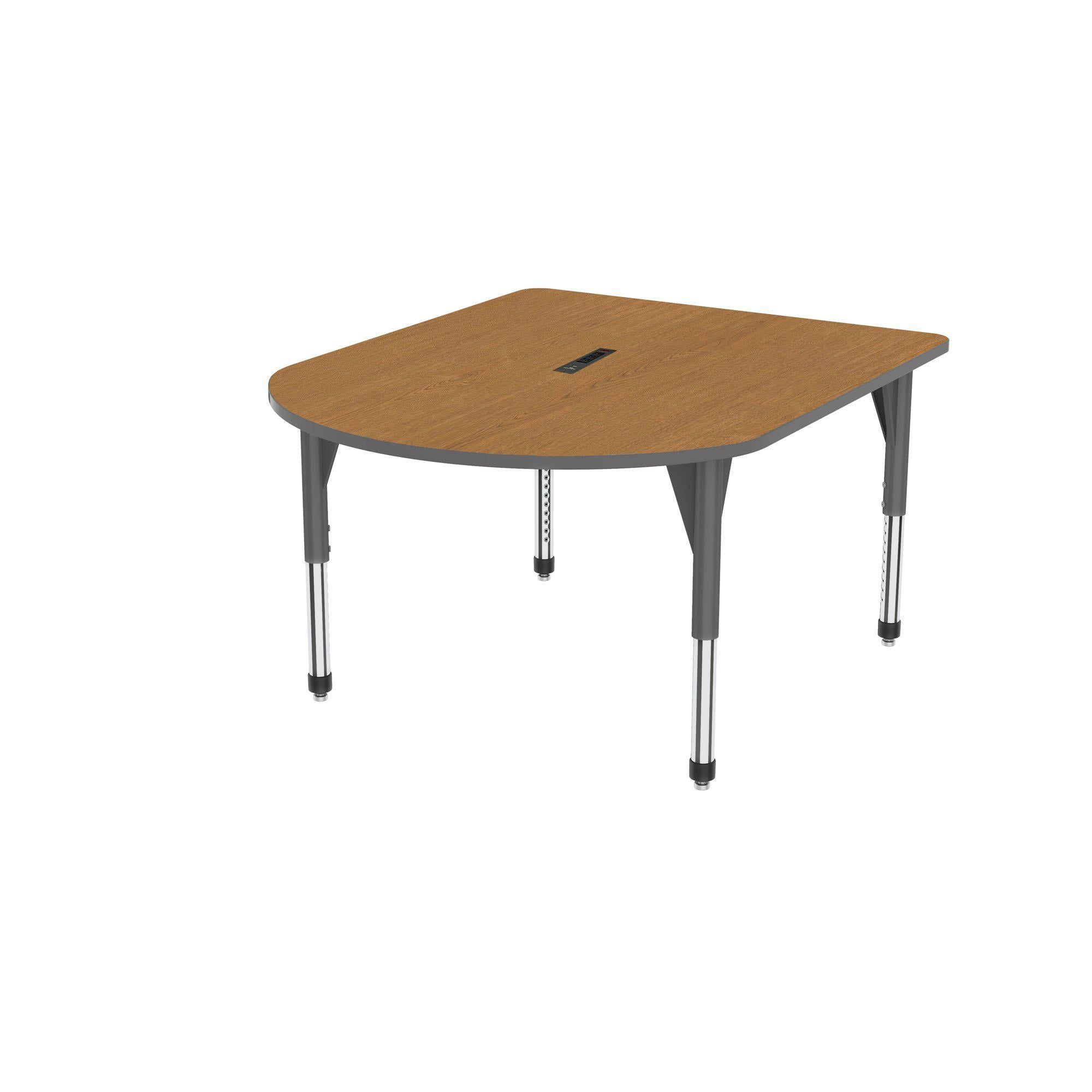 "Premier Series Multimedia Tables with Power Module, 48"" x 60""-Tables-Sitting (21"" - 31"")-Solar Oak/Gray-Grey"