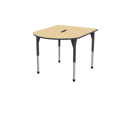 "Premier Series Multimedia Tables with Power Module, 48"" x 60""-Tables-Stool (32"" - 42"")-Fusion Maple/Black-Black"