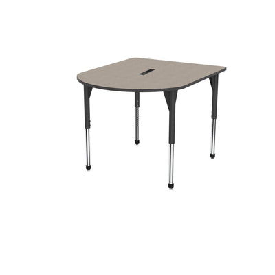 "Premier Series Multimedia Tables with Power Module, 48"" x 60""-Tables-Stool (32"" - 42"")-Pewter Mesh/Black-Black"