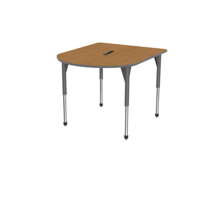 "Premier Series Multimedia Tables with Power Module, 48"" x 60""-Tables-Stool (32"" - 42"")-Solar Oak/Gray-Grey"