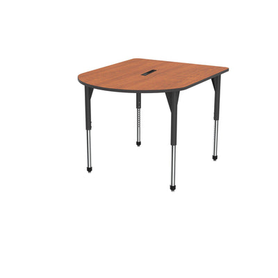 "Premier Series Multimedia Tables with Power Module, 48"" x 60""-Tables-Stool (32"" - 42"")-Wild Cherry/Black-Black"