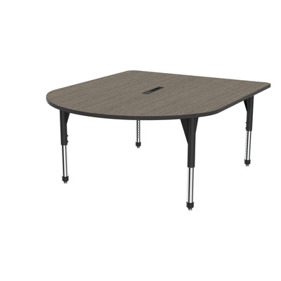 "Premier Series Multimedia Tables with Power Module, 60"" x 72""-Tables-Sitting (21"" - 31"")-Boardwalk Oak/Black-Black"
