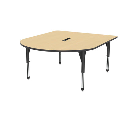 "Premier Series Multimedia Tables with Power Module, 60"" x 72""-Tables-Sitting (21"" - 31"")-Fusion Maple/Black-Black"