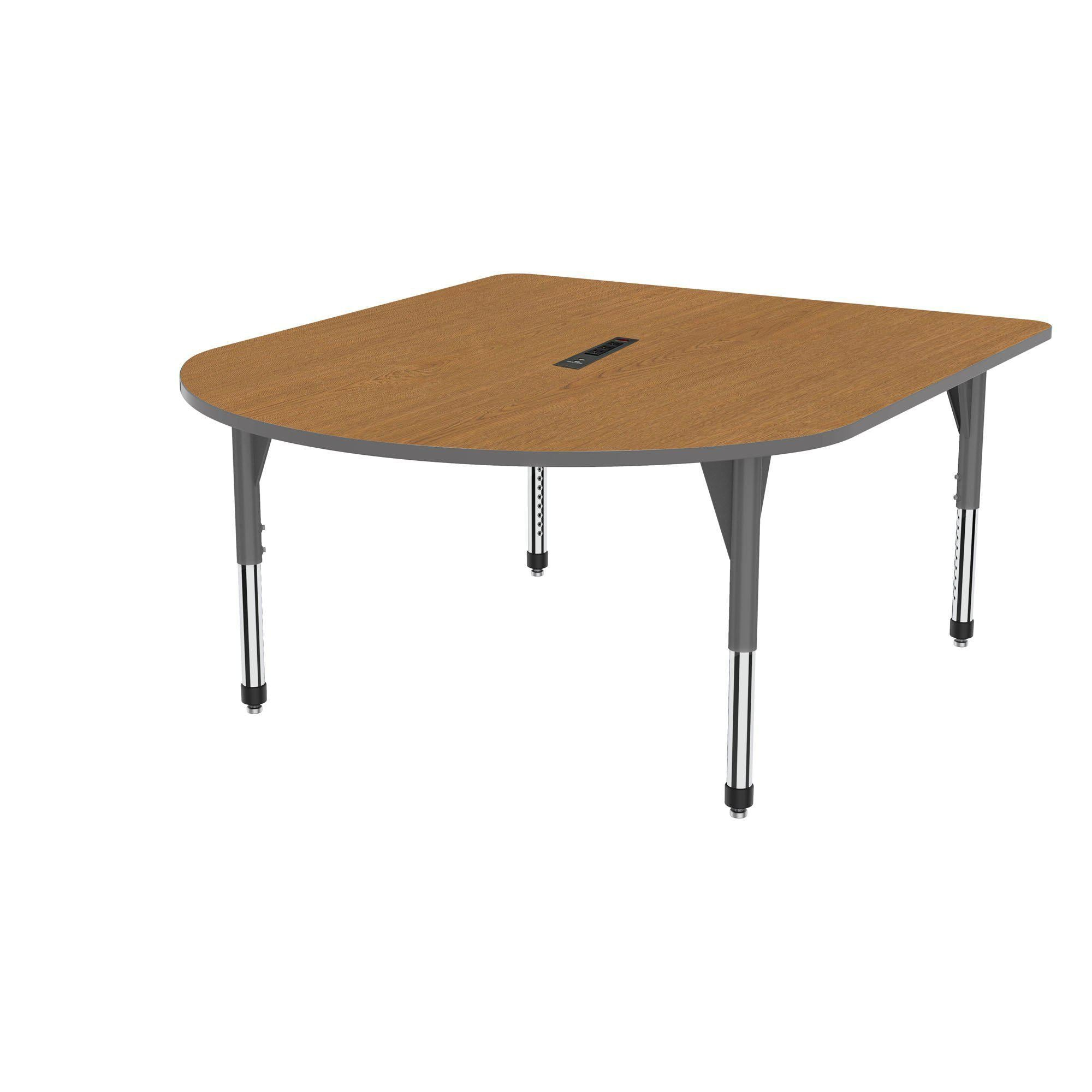 "Premier Series Multimedia Tables with Power Module, 60"" x 72""-Tables-Sitting (21"" - 31"")-Solar Oak/Gray-Grey"