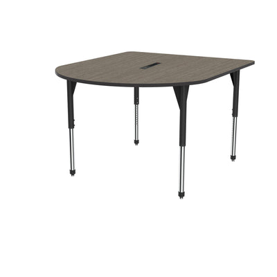 "Premier Series Multimedia Tables with Power Module, 60"" x 72""-Tables-Stool (32"" - 42"")-Boardwalk Oak/Black-Black"