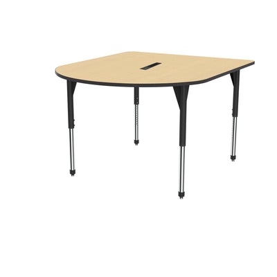 "Premier Series Multimedia Tables with Power Module, 60"" x 72""-Tables-Stool (32"" - 42"")-Fusion Maple/Black-Black"