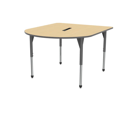 "Premier Series Multimedia Tables with Power Module, 60"" x 72""-Tables-Stool (32"" - 42"")-Fusion Maple/Gray-Grey"