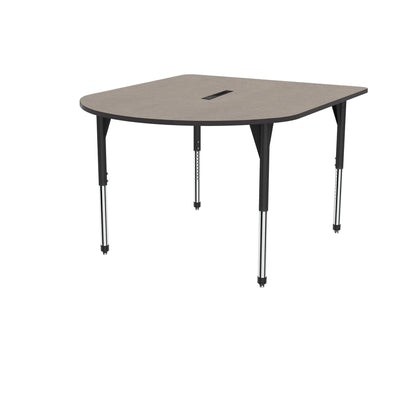 "Premier Series Multimedia Tables with Power Module, 60"" x 72""-Tables-Stool (32"" - 42"")-Pewter Mesh/Black-Black"